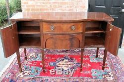 English Edwardian Antique Flamed Mahogany Sideboard 2 Drawer 2 Door Cabinet