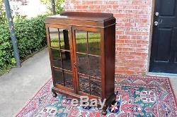 English Jacobean Antique Bookcase / Display Cabinet Home Office Furniture
