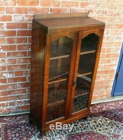 English Oak Arts & Crafts Two Glass Door Bookcase / Display Cabinet