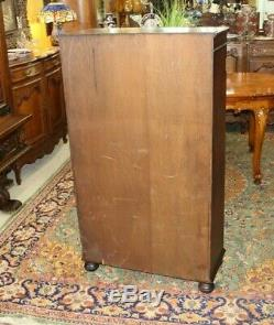English Oak Glass Door Bookcase / Display Cabinet