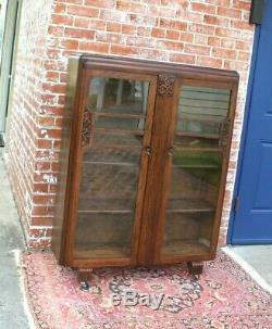 English Oak Wood Art Deco 2 Door Bookcase / Display Cabinet