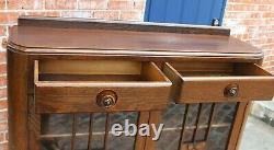 English Oak Wood Art Deco 2 drawer & 2 Door Bookcase / Display Cabinet
