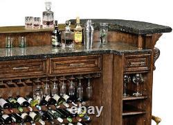 English Pub Tudor Oak and Granite Gothic Style Hand Carved Bar NEW Custom Made