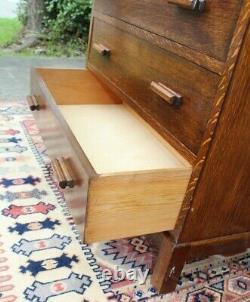 English Tiger Oak Wood Antique Cabinet 3 Drawer 2 Door Chest Small Dresser