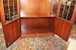English Walnut Glass Door Display Cabinet / With 2 Glass Shelves & Light
