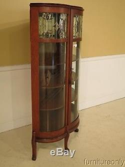 F28329E Antique Oak Bow Front China Cabinet w. Leaded Glass