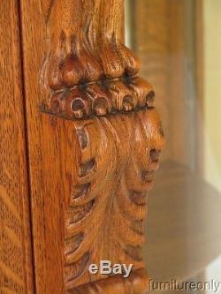 F28377EC Antique Oak Griffin Carved China Cabinet w. Serpentine Glass