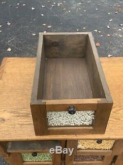 Fantastic Small Size Oak General Store Counter Seed Bin Turn Of The Century