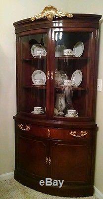 Fantastic Curved Glass Corner Cabinet With Bronze Ormolu