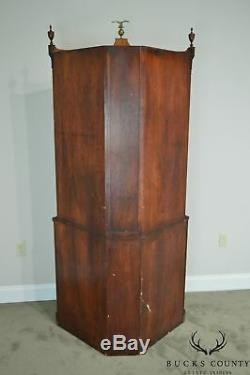 Federal Style Vintage Mahogany Bow Glass Inlaid Corner Cabinet