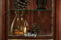 French 1910 Antique Vitrine Curved Glass Curio Cabinet, Marble, Paintings