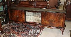 French Antique Carved Burl Walnut Long Venetian Sideboard Buffet Sink Furniture