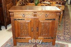 French Antique Carved Oak Renaissance Sideboard / 2 Door & 2 Drawer Cabinet