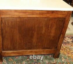 French Antique Flamed Mahogany Louis Phillipe Marble Top Chest of Drawers