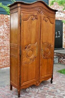 French Antique Oak Armoire / 3 Shelf Cabinet 18th Century Bedroom Furniture