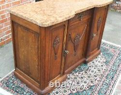 French Antique Oak Art Deco Marble Top Sideboard