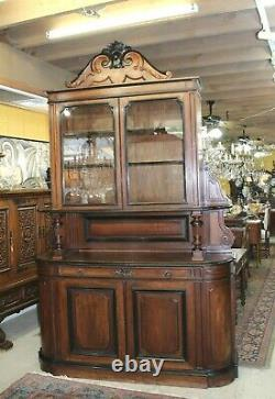 French Antique Walnut Buffet / Sideboard Cabinet with Hutch
