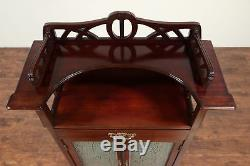 French Art Nouveau Antique Mahogany Hall or Music Cabinet, Rain Glass #29237