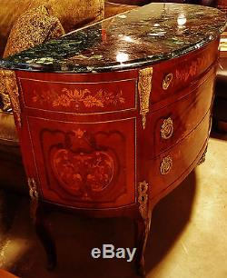 French Louis Style Demi Lune Cabinet Consule Chest Of Drawers, Inlaid Marble Top