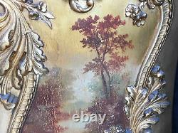 French Style 19th Century Gilt Wood Vitrine Cabinet Painting on Bottom