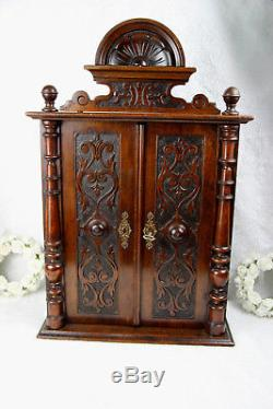 French vintage oak wood carved apothecary kitchen wall cabinet 1960s