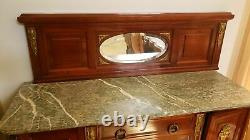 GORGEOUS ANTIQUE FRENCH MARBLE SIDEBOARD CABINET ORMOLU MIRROR or SINK COMMODE