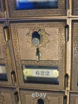 Genuine Original Oak Antique Free-Standing Sloped-top Mail-Box Postal Cabinet