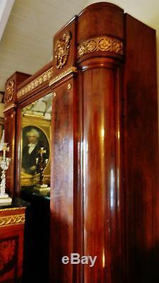 Gorgeous Antique Large Walnut European Armoire Cabinet, Figural Ormolu Mounted