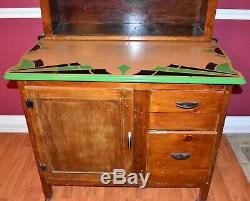 Gorgeous Antique c. 1800's-1900's Slide Hoosier Cabinet with 2 Enamel-Ware Counters