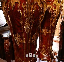 Gorgeous, Highly Ornate, Pair of French Louis Style Monumental Pedestal Tables