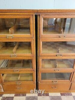 HEAVY 2 PC Oak Clothing Hardware Store Cabinet Glass Front Doors Drawer Section