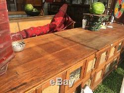 HEAVY c1900 antique oak seed cabinet counter 10 10 x 30.5 x 30 Rochester NH