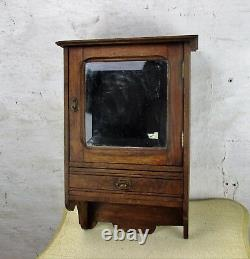 Hand Carved Oak Kitchen Apothecary Wall Cabinet Beveled Glass mirror 50s