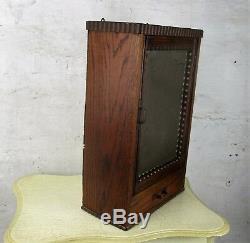 Hand Carved Wood medicine bathroom Wall Cabinet Beveled Glass mirror Bobbin