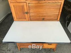 Hoosier Style OAK SELLERS Cabinet with Flour Bin, Original Finish