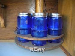 Hoosier Style SELLERS Cabinet w Flour Bin, Purple Slag Glass Doors, Spice Jars