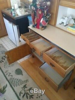 Hoosier cabinet with pullout table and lots of storage cabinets