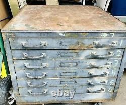 Industrial 6 Drawer Map Cabinet