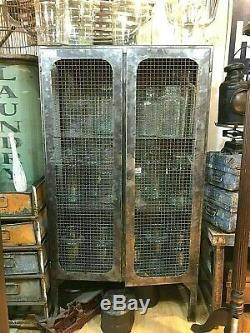Industrial Metal Mesh Cabinet, Vintage Rustic Cupboard