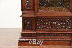 Italian Antique Armoire, Library File Cabinet, Iron & Stained Glass Door #30016