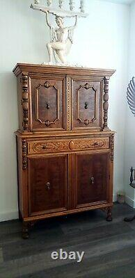 Jacobean Carved Walnut Cabinet Bookcase Bookshelf