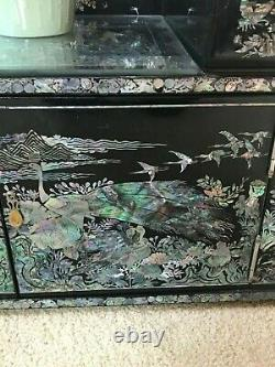 Korean Black Lacquer And Mother Of Pearl Mirror Dresser