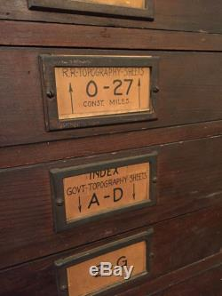 Large Antique Pine Virginia Railroad Map Chest Industrial Architct Map 20  Drawer