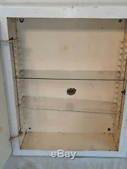 LARGE METAL Antique Vintage Medicine Cabinet Metal with Mirrored Door