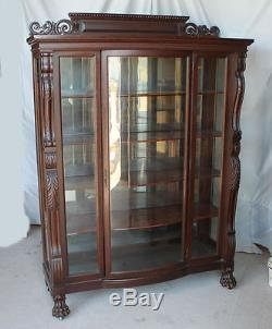 Large Antique Carved Oak China Curio Cabinet original finish