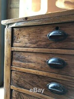 Large Antique Flat File Cabinet, Apothecary Drawer Unit, Kitchen Island