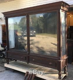 Large Antique Oak 1880's Pharmacy / General Store Display Cabinet