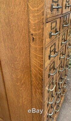 Large Antique Oak 30 Drawer Store Cabinet
