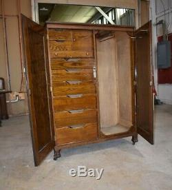 Large Antique Oak Bedroom Wardrobe Closet Armoire, Continental Furniture Co