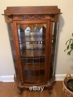 Large Antique Oak China Curio Cabinet with Original Finish